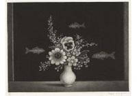 fleurs devant un aquarium [fleurs et aquarium] by hasegawa kiyoshi